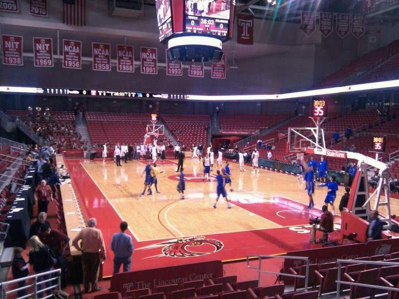 Seating view for Liacouras Center Section 109 Row l Seat 7