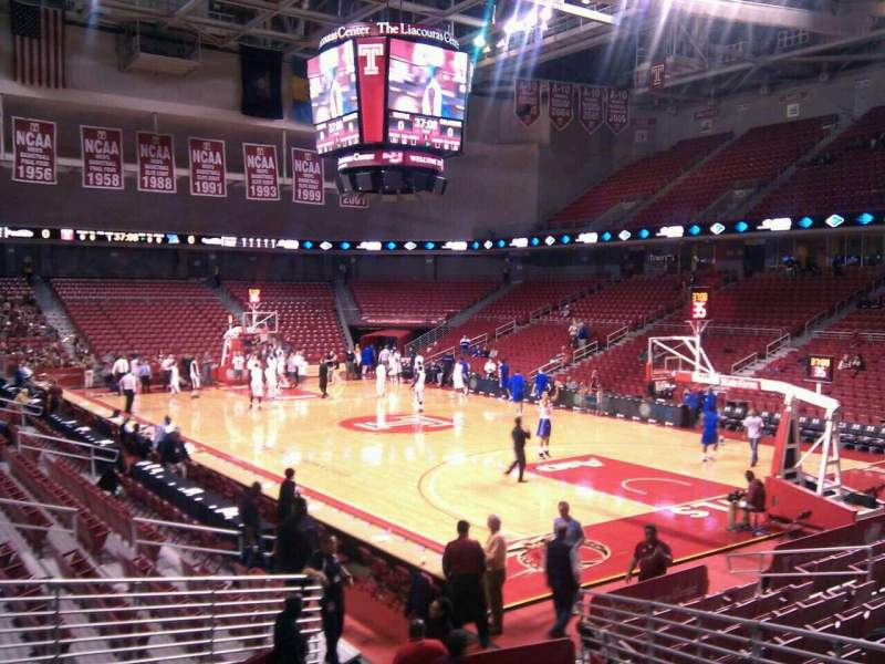 Seating view for Liacouras Center Section 110 Row q Seat 5