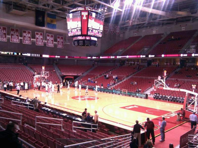Seating view for Liacouras Center Section 110 Row q Seat 17