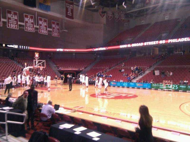 Seating view for Liacouras Center Section 112 Row e Seat 7