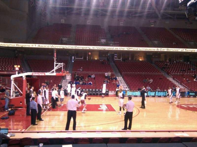 Seating view for Liacouras Center Section 114 Row h Seat 12