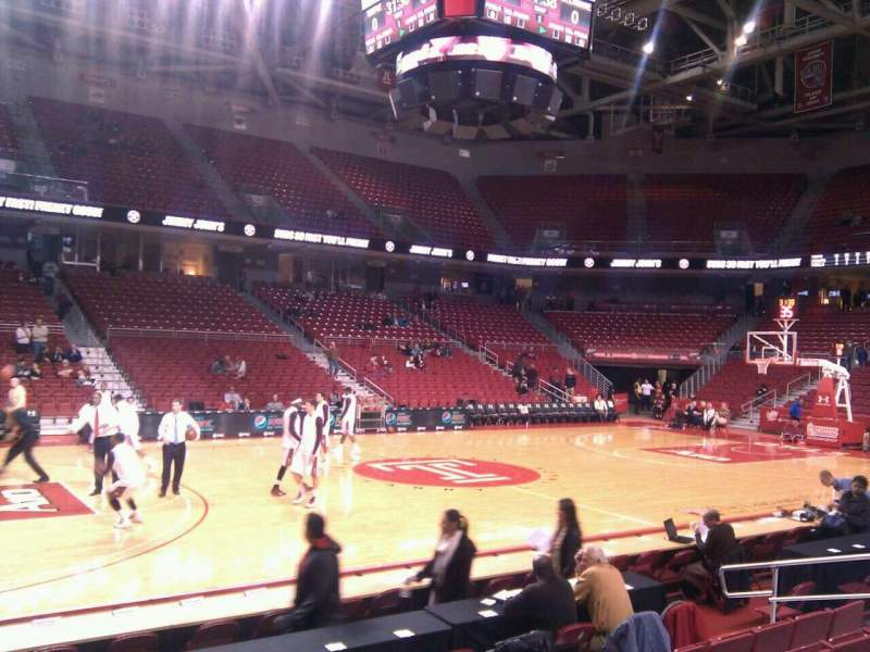Seating view for Liacouras Center Section 114 Row h Seat 14