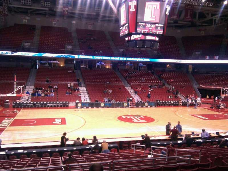 Seating view for Liacouras Center Section 114 Row t Seat 9