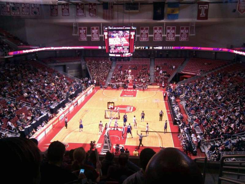 Seating view for Liacouras Center Section 208 Row h Seat 1