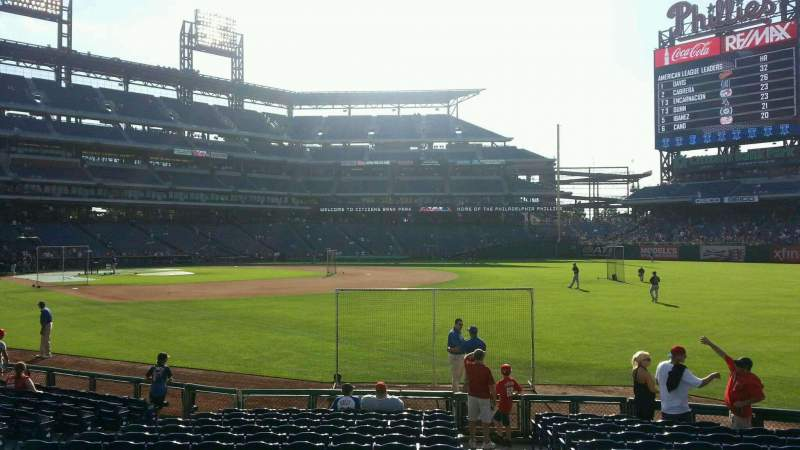 Seating view for Citizens Bank Park Section 110 Row 15 Seat 1