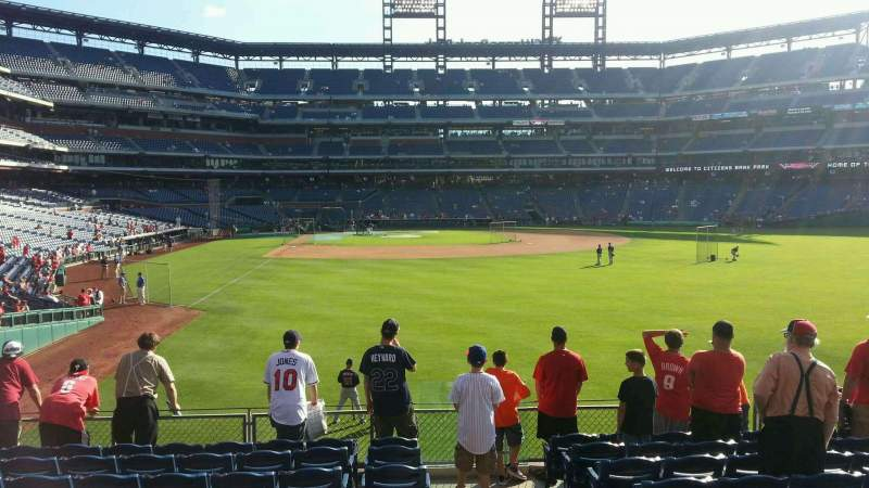 Seating view for Citizens Bank Park Section 106 Row 10 Seat 1