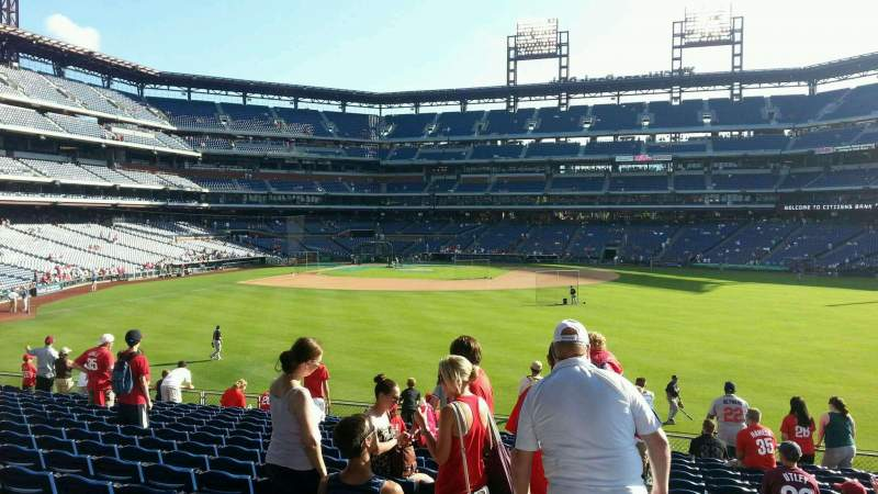 Seating view for Citizens Bank Park Section 102 Row 16 Seat 20