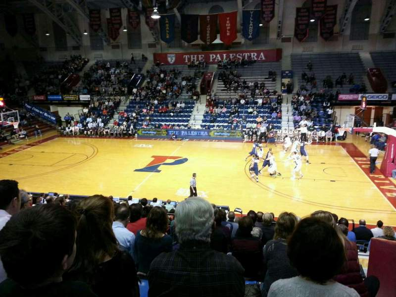 Seating view for Palestra Section 214 Row 13 Seat 4