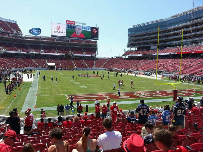 Seating view for Levi's Stadium Section 105 Row 18 Seat 10