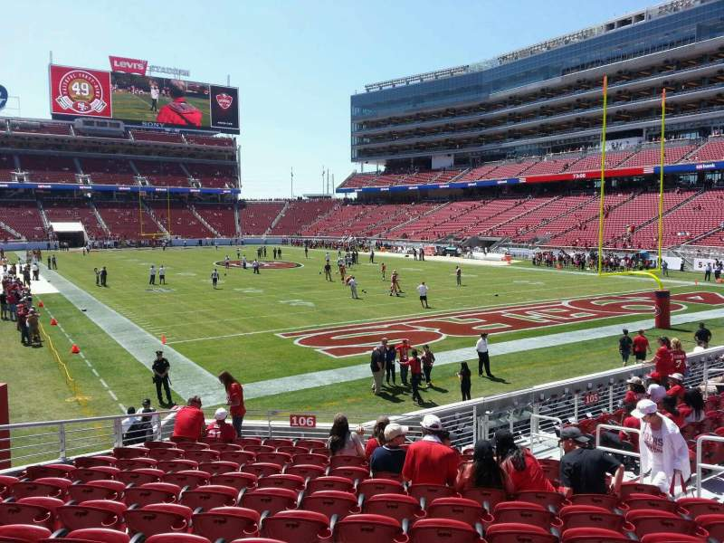 Seating view for Levi's Stadium Section 106 Row 15 Seat 22