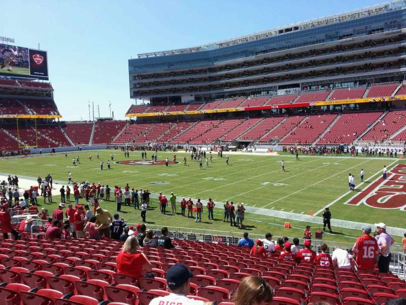 Seating view for Levi's Stadium Section 109 Row 20 Seat 4