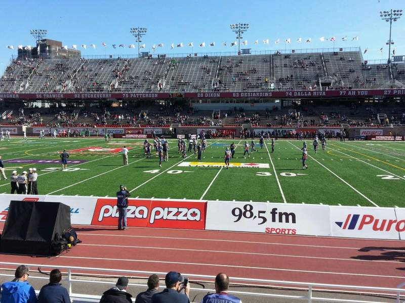 Seating view for Percival Molson Memorial Stadium Section e1 Row 7 Seat 28