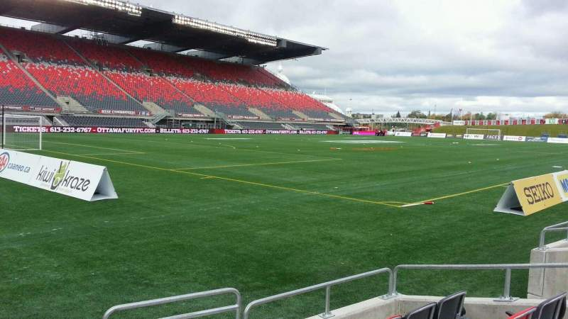 Seating view for TD Place Stadium Section y Row 5 Seat 1