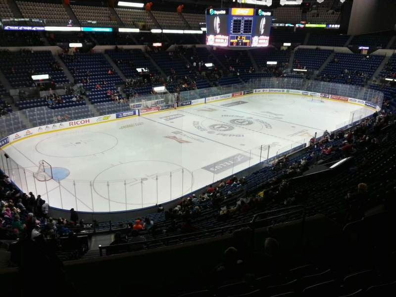 Seating view for Colisée Pepsi Section 206 Row f Seat 36
