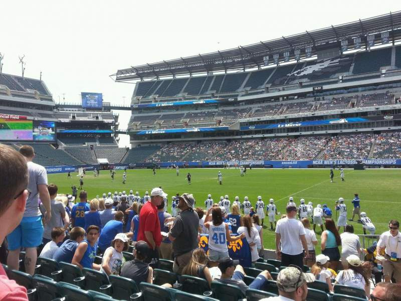 Seating view for Lincoln Financial Field Section 122 Row 10 Seat 1