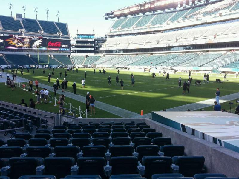 Seating view for Lincoln Financial Field Section 107 Row 11 Seat 10