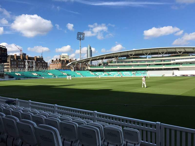 Seating view for Kia Oval Section Pavilion Terrace Row F Seat 12