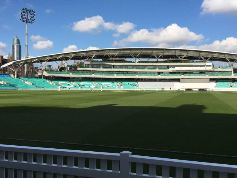 Seating view for Kia Oval Section Pavilion Terrace Row C Seat 56