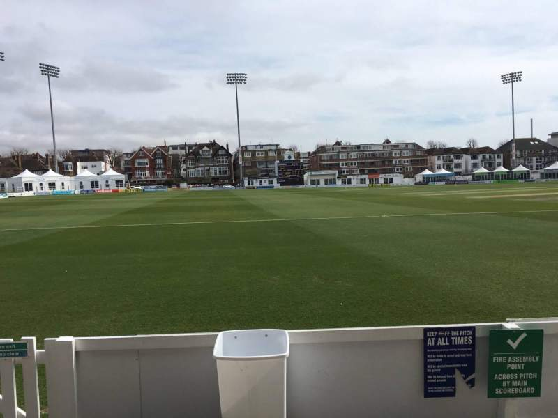 Seating view for County Cricket Ground (Hove) Section Grandstand F Row B Seat 84