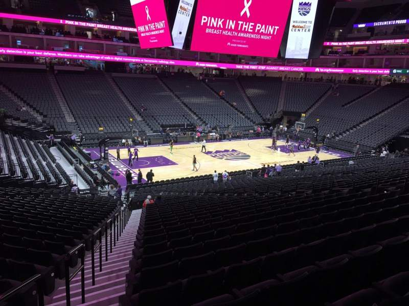 Seating view for Golden 1 Center Section 122 Row U Seat 16