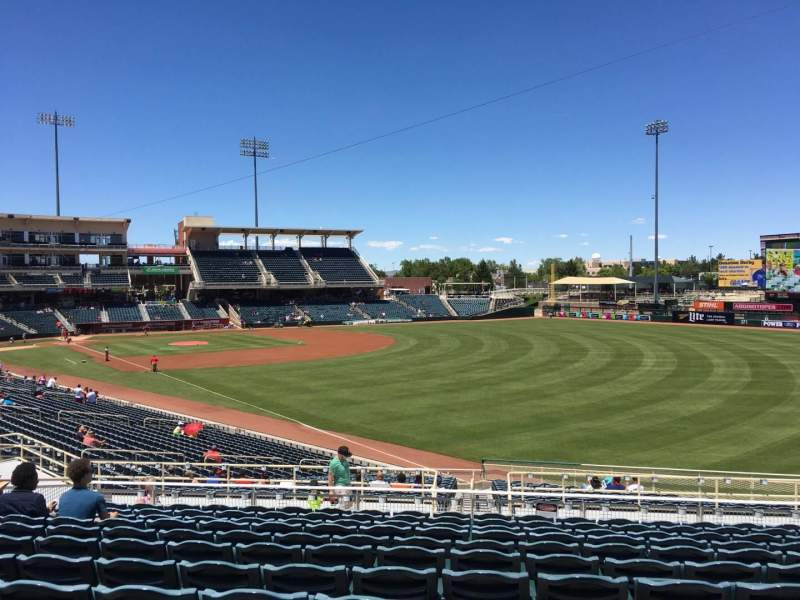 Seating view for Isotopes Park Section 130 Row L Seat 12