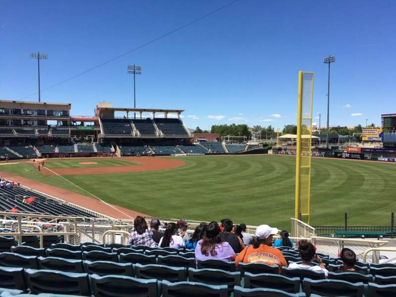 Seating view for Isotopes Park Section 132 Row L Seat 10