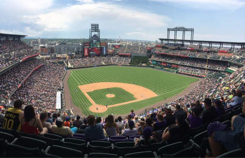 Seating view for Coors Field Section U328 Row 24 Seat 15