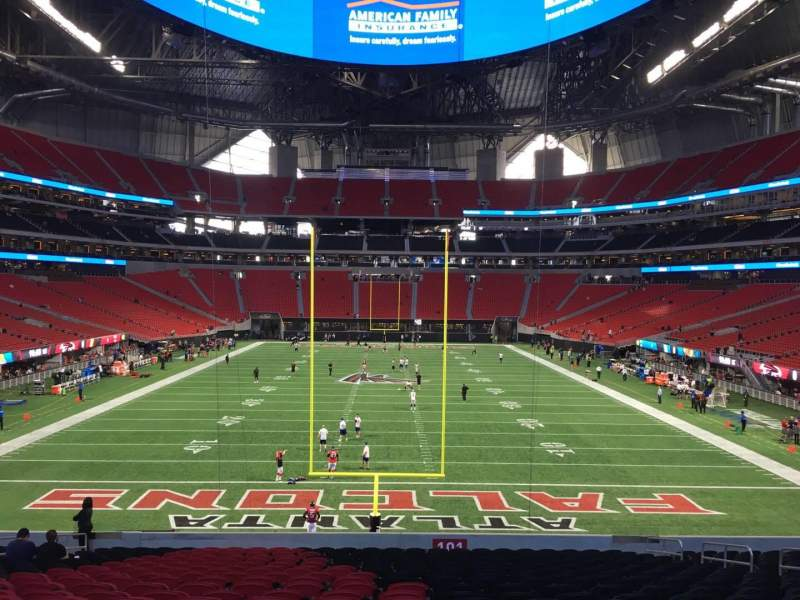 Seating view for Mercedes-Benz Stadium Section 101 Row 30 Seat 13