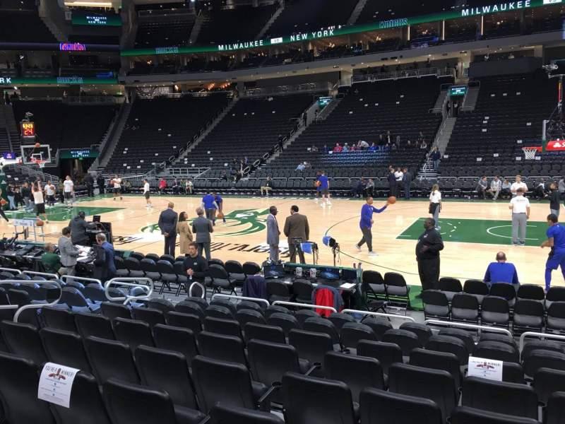 Fiserv Forum, section 116, row 7, seat 8 - Milwaukee Bucks vs