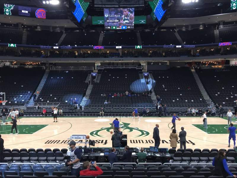 Seating view for Fiserv Forum Section 117 Row 10 Seat 12