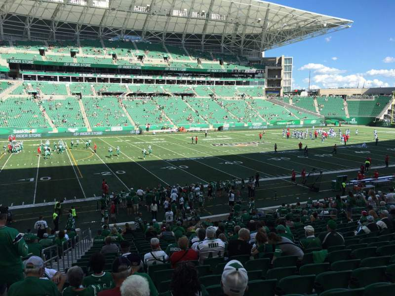 Seating view for Mosaic Stadium Section 117 Row 22 Seat 22