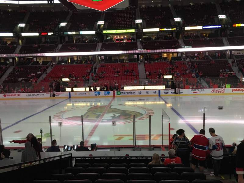 Seating view for Canadian Tire Centre Section 116 Row L Seat 3