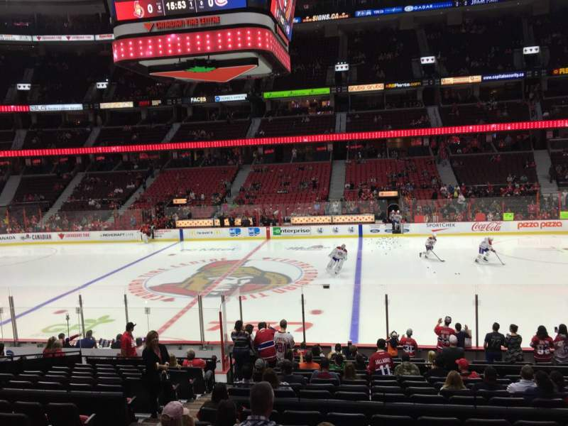 Seating view for Canadian Tire Centre Section 115 Row R Seat 14