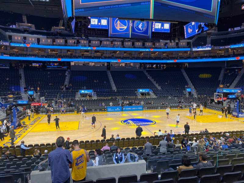 Seating view for Chase Center Section 116 Row 7 Seat 13