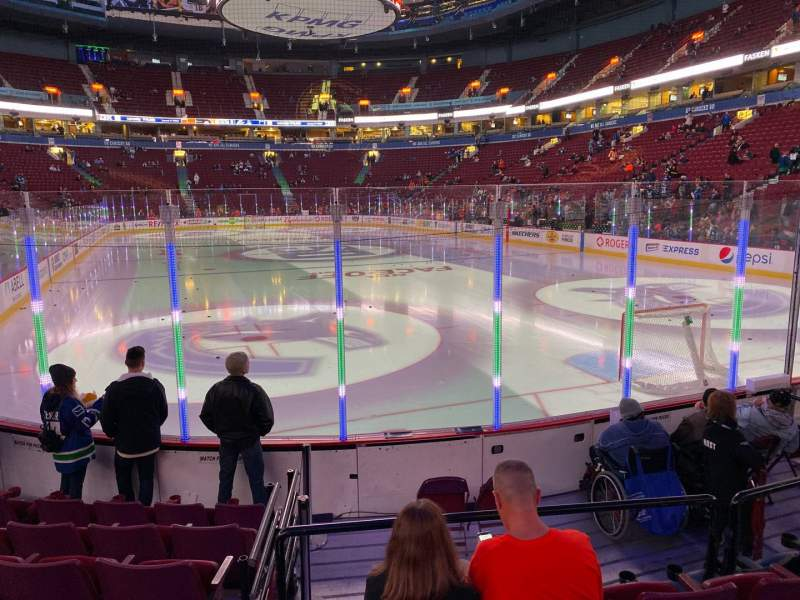Seating view for Rogers Arena Section 101 Row 7 Seat 105