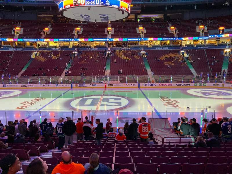 Seating view for Rogers Arena Section 117 Row 17 Seat 5