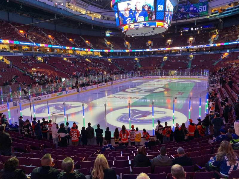 Seating view for Rogers Arena Section 110 Row 14 Seat 103