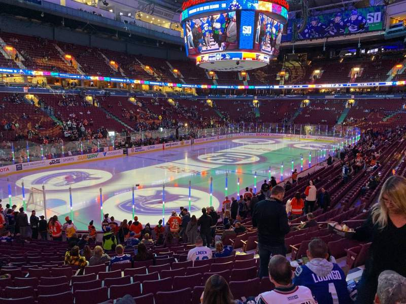 Seating view for Rogers Arena Section 109 Row 18 Seat 108