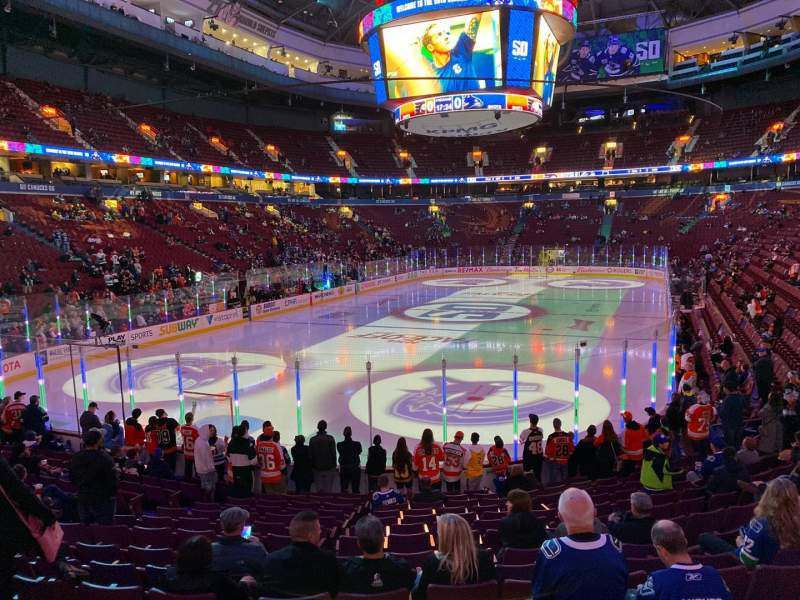 Seating view for Rogers Arena Section 110 Row 15 Seat 105