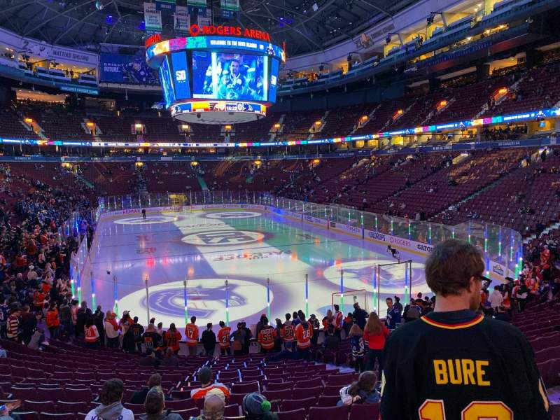 Seating view for Rogers Arena Section 112 Row 19 Seat 110