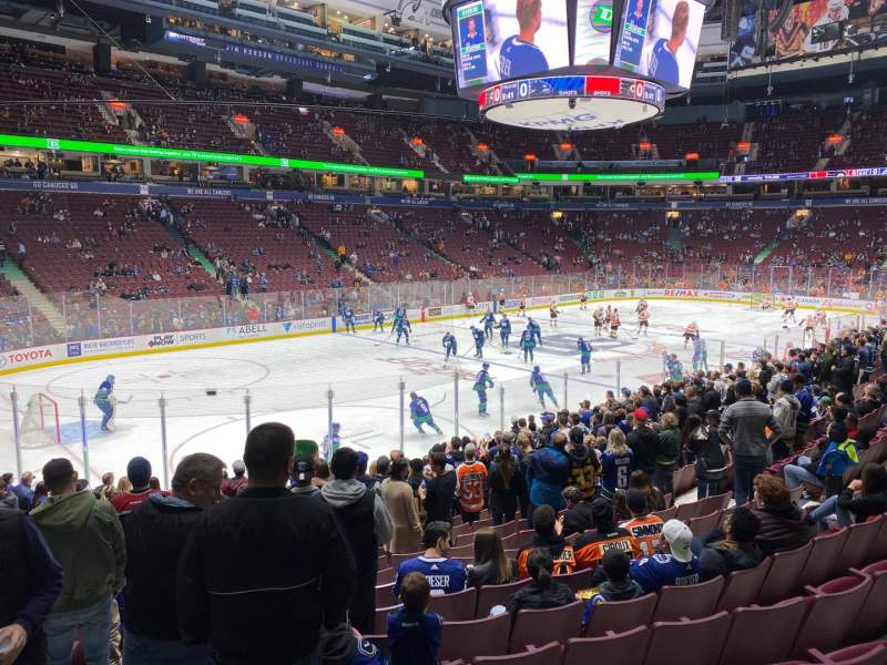 Seating view for Rogers Arena Section 120 Row 16 Seat 3