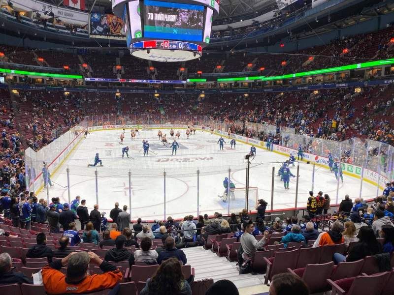 Seating view for Rogers Arena Section 101 Row 16 Seat 103