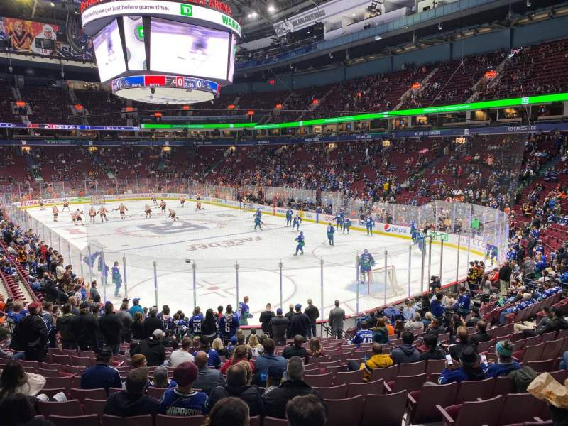 Seating view for Rogers Arena Section 102 Row 18 Seat 102