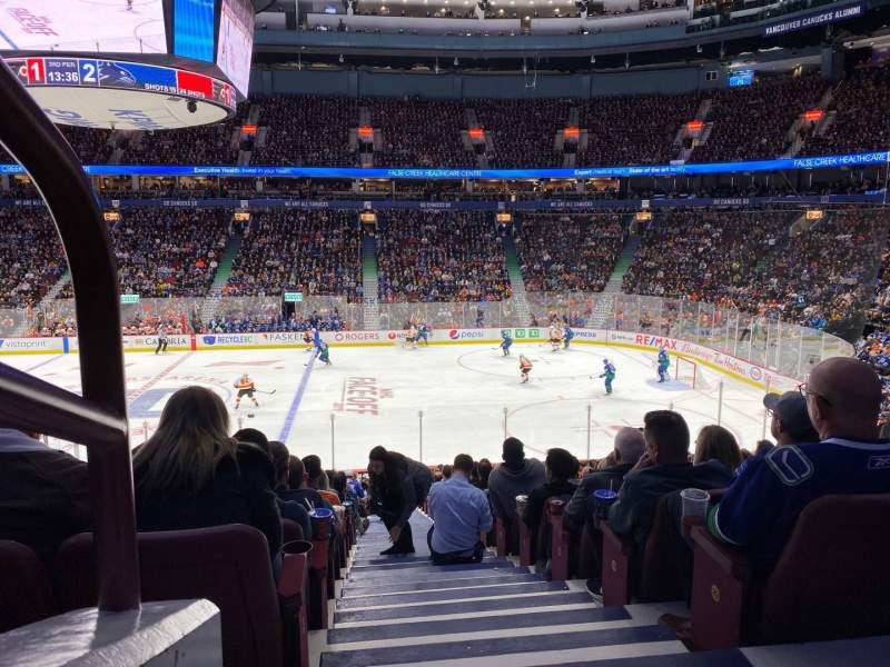 Seating view for Rogers Arena Section 105 Row 22 Seat 1