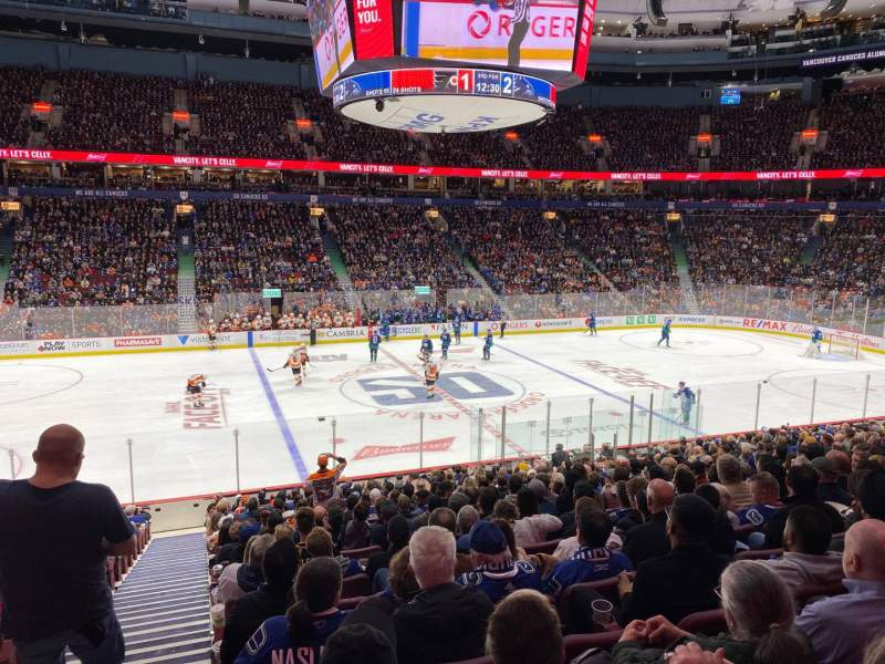 Seating view for Rogers Arena Section 107 Row 20 Seat 1