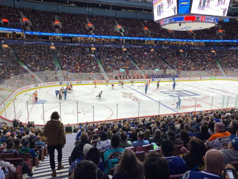 Seating view for Rogers Arena Section 106 Row 20 Seat 1