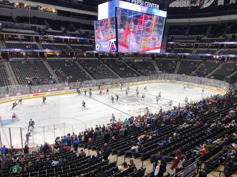 Seating view for Pepsi Center Section 206 Row 1 Seat 14