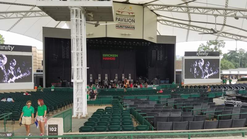 Seating view for Cynthia Woods Mitchell Pavilion Section 107 Row C Seat 5