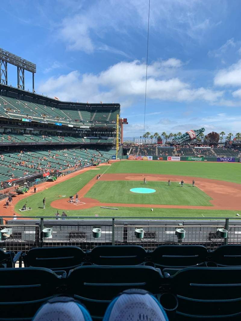 Seating view for Oracle Park Section 210 Row D Seat 5