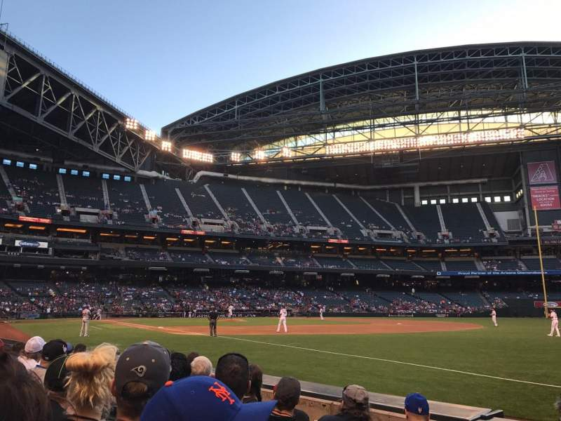 Seating view for Chase Field Section 112 Row 5 Seat 1